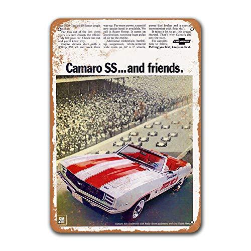 1969 Camaro SS винтажные автомобильные жестяные знаки, металлические таблички, плакат, бар, мужская пещера, Ретро Декор стен 8x12 дюймов
