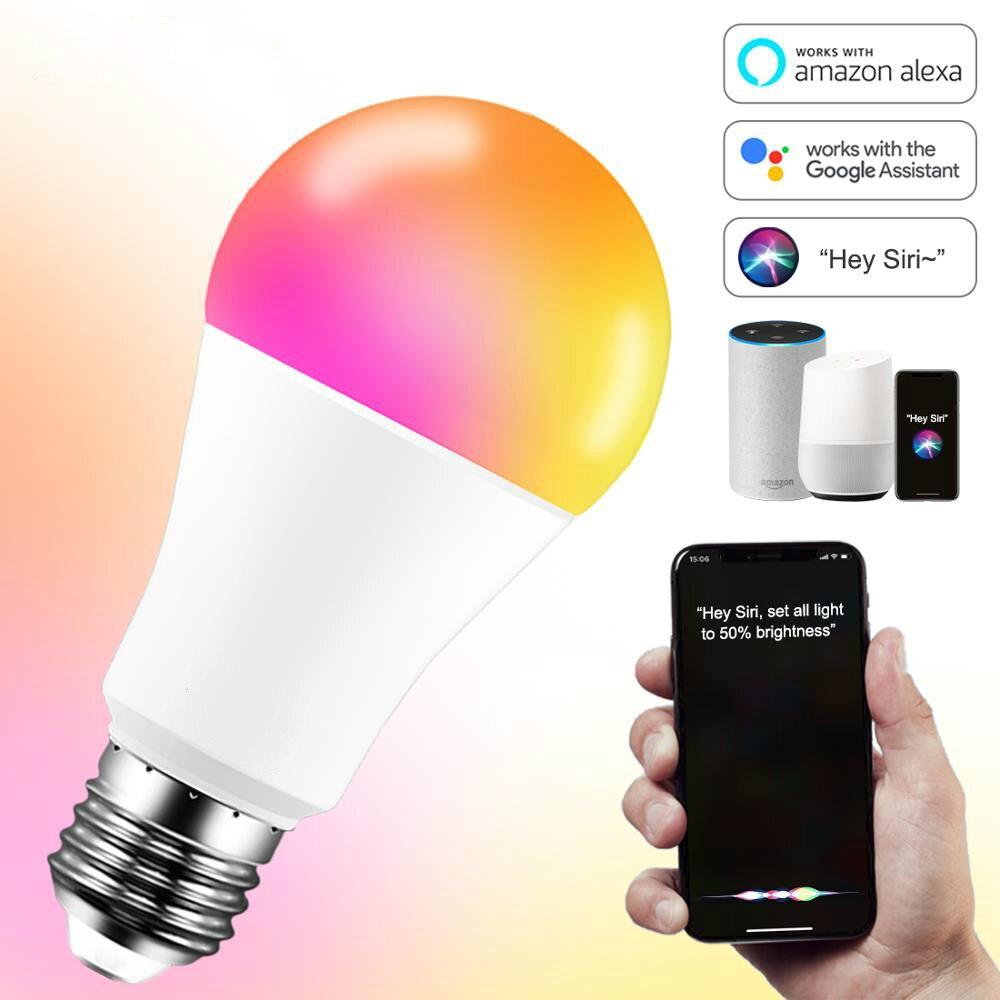 Lâmpada led inteligente conveniente de 15w, operada por aplicativo, compatível com controle de voz alexa e google assistente, e27 regulável, wi-fi, 110v 220v