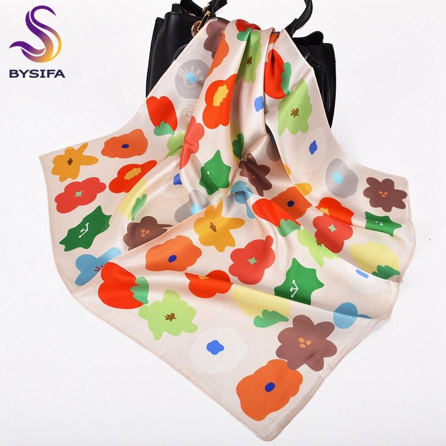 [BYSIFA] милый стильный женский шарф из 100% шелка, милый женский цветочный дизайн, небольшие Квадратные платки 53*53 см, брендовая бежевая красная лента