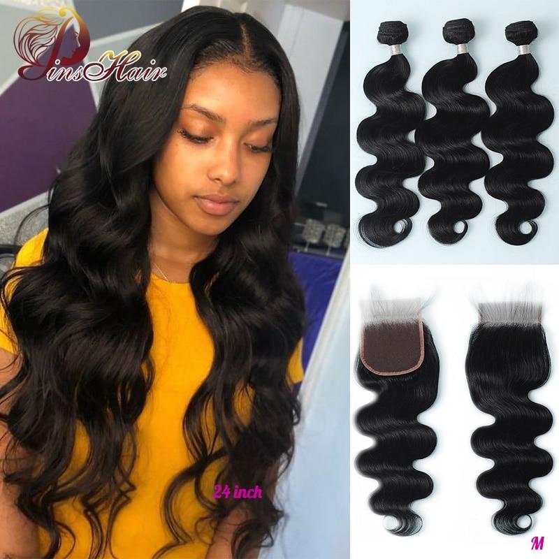 Pinshair Natural Color Body Wave 3 Bundles With Closure Brazilian Hair 4*4 Lace Closure Human Hair Extensions Remy Hair Bundles