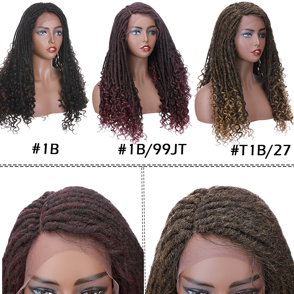 HAIRRO Synthetic 25'' Faux Locs Braid Hair Straight Dreadlock Wig Synthetic Soft Faux Locs Wigs Braiding Crochet Twist Hair Wigs enlarge