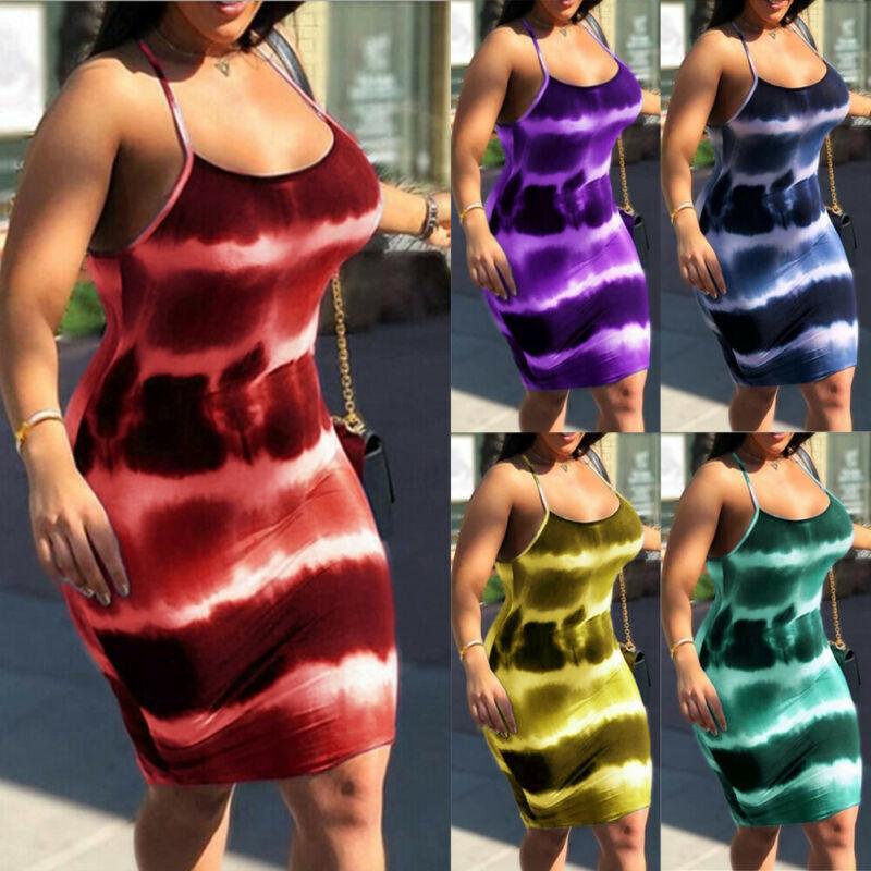 Mini vestido ceñido al cuerpo sexi con estampado de corbata y tiras finas, ropa de Club para mujer, moda 2019, vestidos elásticos de arco iris, ropa de calle ajustada