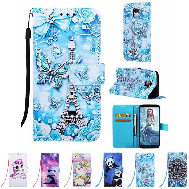 Para samsung galaxy j6 plus 2018 j6 torre eiffel tigre impressão flip couro carteira slot para cartão suporte pintado caso do telefone capa