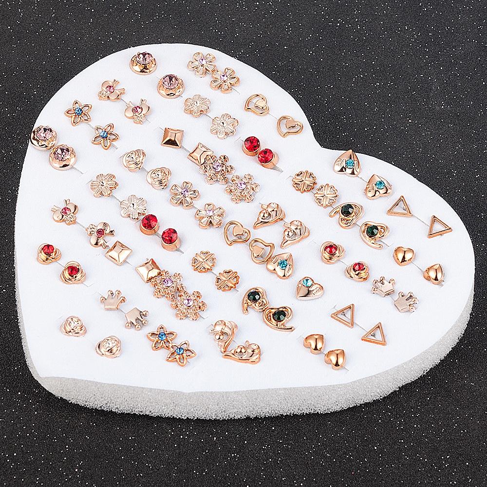 12-36 пар/уп. случайный дизайн модные женские круглые звезды пластиковые Стразы хрустальные цветы серьги-гвоздики ювелирные изделия