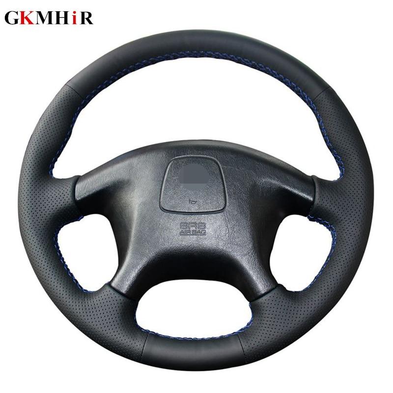 Couro artificial preto diy mão-costurado volante do carro capa para mitsubishi pajero velho mitsubishi pajero esporte