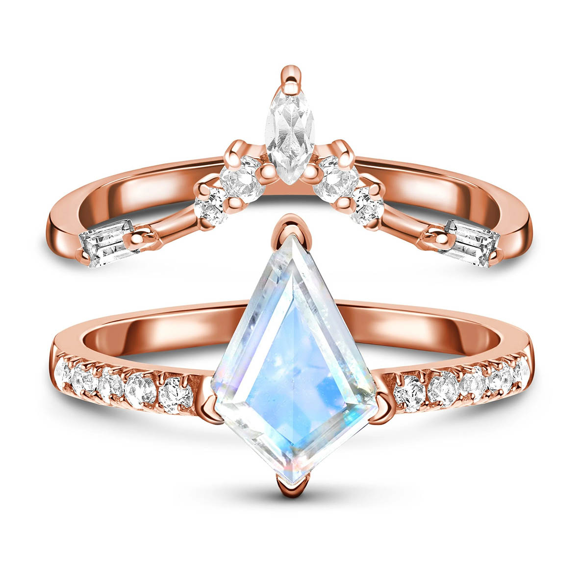 عالية الجودة 925 فضة الأوجه طائرة ورقية قطع 7x10 مللي متر الطبيعية الأزرق خاتم من حجر القمر خاتم من حجر القمر مجموعات للنساء هدية