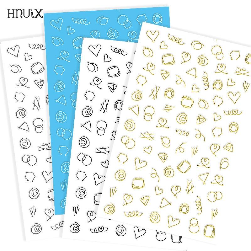 HNUIX Pegatinas doradas 3D para uñas, cintas geométricas, autoadhesivas para decoración de uñas artísticas, pegatinas de transferencia DIY para manicura