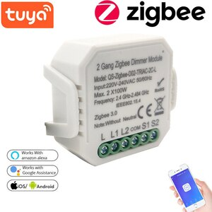 Tuya Zigbee Dimmer Switch Module 220-240V No Neutral Smart Home Automation Wireless Control Works With Alexa Amazon Google Home