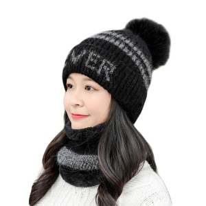 Fashion Winter Beanie Knitted Hat Scarf Female Winter Hats For Women Skullies Beanies Baggy Girls WarmThicken Pompom Caps