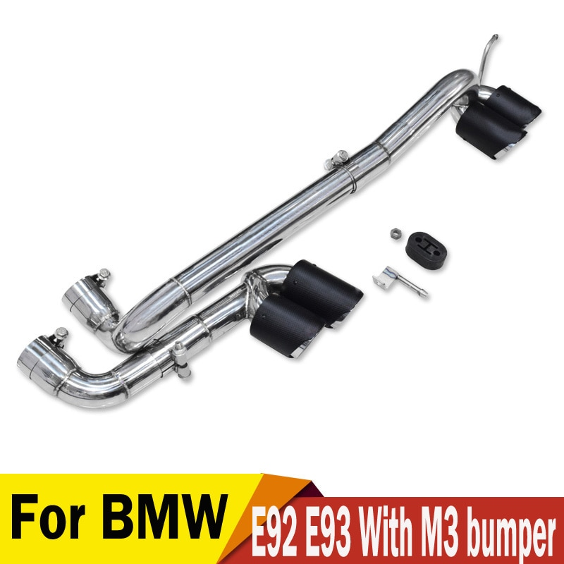 1 ensemble modifié voiture arrière en acier inoxydable en Fiber de carbone tuyau déchappement silencieux fit BMW E90 E92 E93 2006-2012, modifié M3 M4 pare-chocs