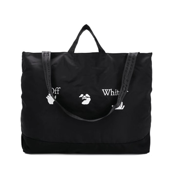 off ow Inclined back portable Tote Bag letter  Print high-quality Original tag large capacity nylon canvas single shoulder bag