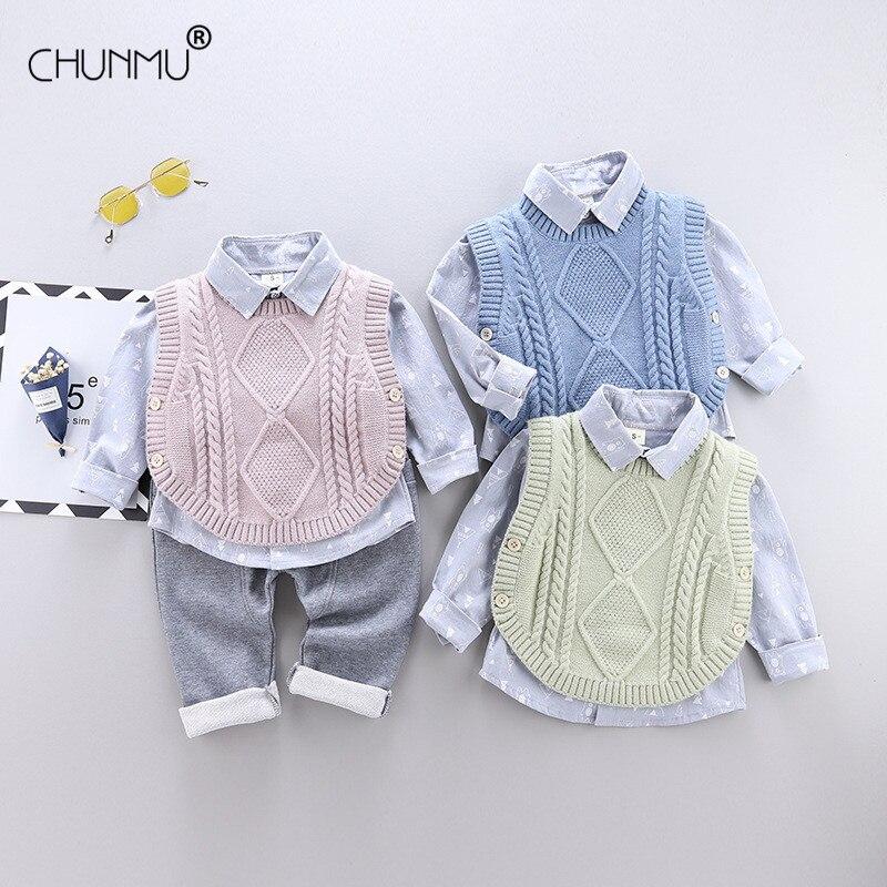 Ubrania dla maluchów odzież dla niemowląt chłopcy solidna koszulka + spodnie 2 szt. Dorywczo z długim rękawem dla dzieci stroje sportowe dla niemowląt odzież dla dzieci