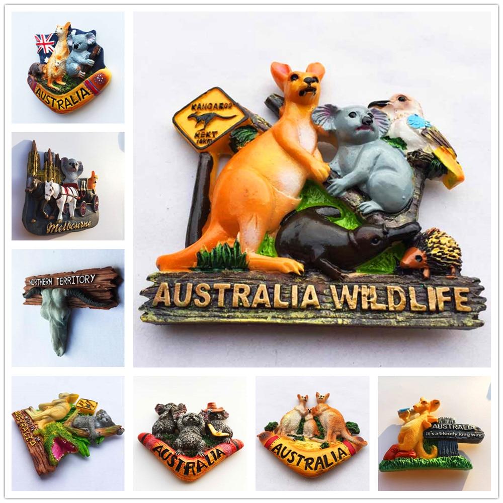 Australia kangaroo sign 3D Fridge Magnets Tourism Souvenir Refrigerator Magnetic Sticker Collection Handicraft Gift south african tourism memorial tree leopard refrigerator