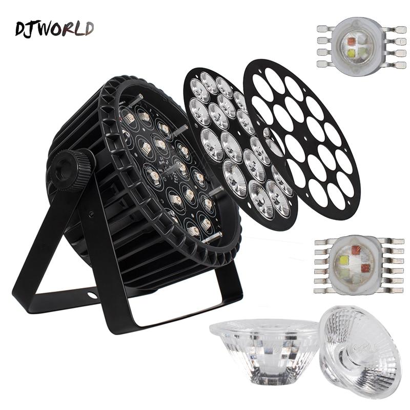 2шт% 2Flot Алюминий сплав LED Flat Par 18x18W RGBWA% 2BUV DJ Par Cans Dj Wash Lighting Stage Light DMX 512 Dj disco Party Nightclub
