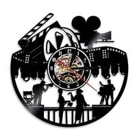 Horloge murale en vinyle pour realisateur de Film Gramophone  horloge moderne  decoration de la maison  cadeau pour un amateur de Film