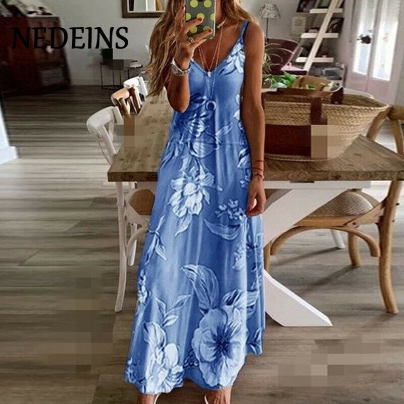 NEDEINS Women Elegant Boho Dress Plus Size Floral Holiday Long Dress 2020 Summer Beachwear Sundress Fashion Maxi Dress