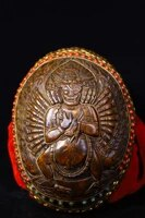 7tibet buddhism old silver inlay dzi bead gem skull head senju ngau tau ming wang king kong bowl kapala skull cup gabala bowl