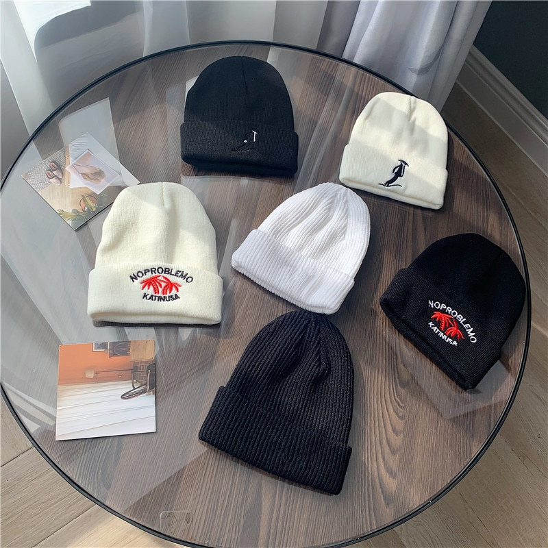 Korean Style All-Match Street Hip Hop Embroidery Knitted Woolen Cap Women's Autumn and Winter Couple