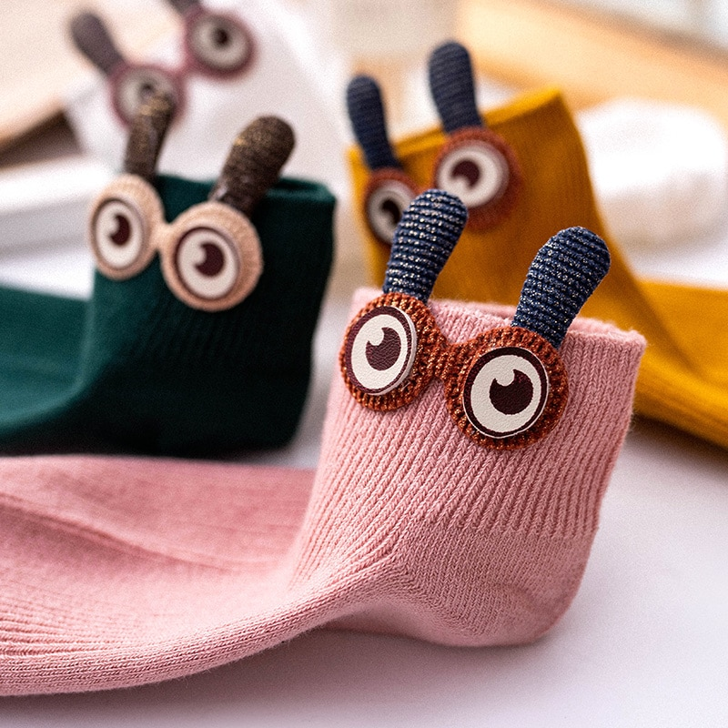 Big Eyes Socks Women's Mid Tube Stockings Japanese Ins Trendy Spring and Autumn Thin Cute Korean Sty