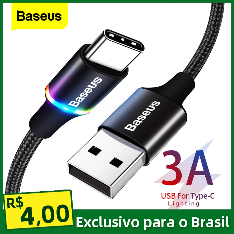 Baseus USB Type C Cable For Samsung S20 S21 Xiaomi POCO Fast Charging Wire Cord USB-C Charger Mobile Phone USBC Type-C Cable 3m