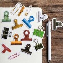 Planificador portátil gadgets colorido clip diseño pegatina Linda troquelada forma caja de papel embalaje papelería Decoración