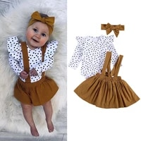 3 pcs baby girl clothes set lace long sleeve spot print t shirt top solid color suspenders short skirt and bow hairband