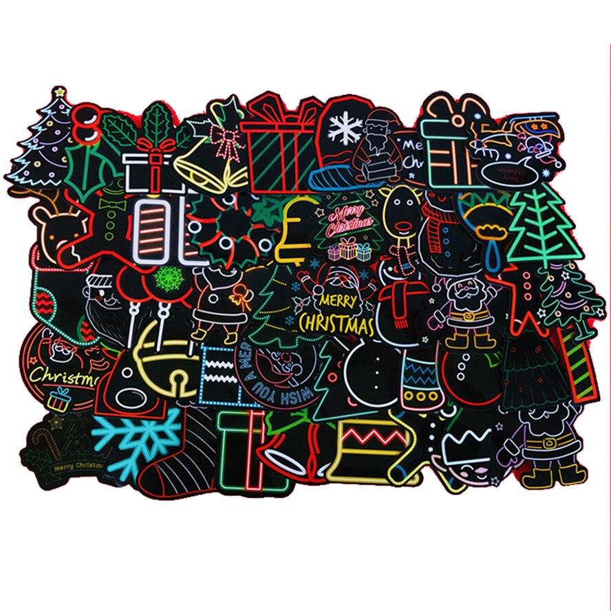 10/30/50 шт. Рождественские декоративные элементы, неоновые Игрушки для мальчиков, самодельные наклейки, автомобильный шлем, ноутбук, чашка для...