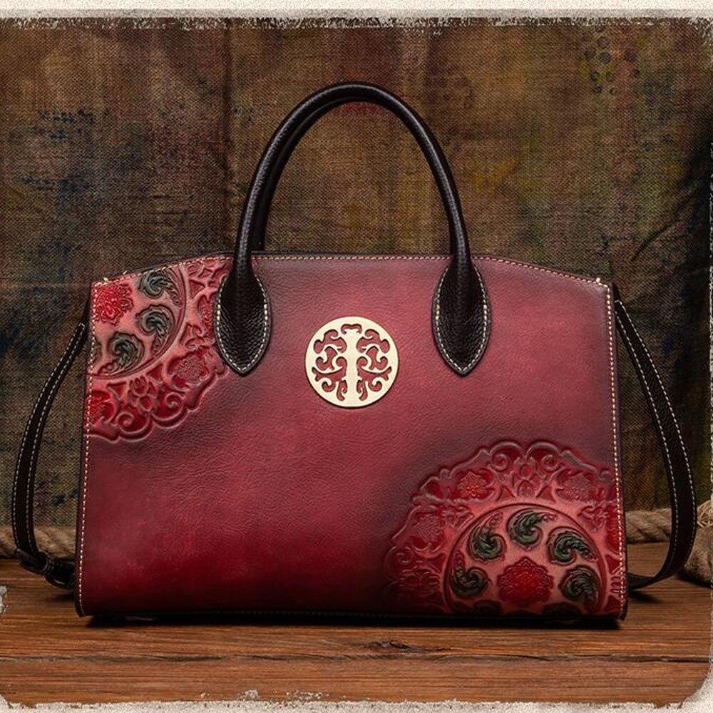 Vintage نساء رسول الكتف حقيبة يد مقبض تنقش مصمم الإناث جلد طبيعي حقيبة يد كروس حمل الحقائب