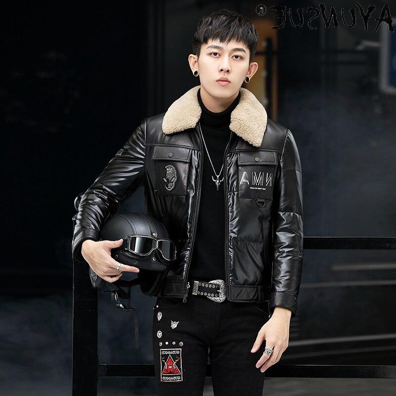 Genuine Men's Cowhide Leather Jacket Men Clothing Winter Coat Real Wool Fur Collar 21% Down Jackets