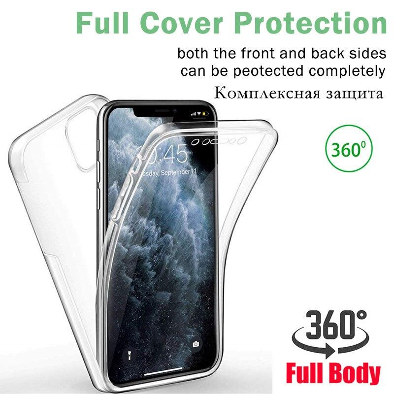 360 capa completa silicone macio à prova de choque casos para iphone 12 mini 11 pro max xs x xr 7 6s 8 plus se 2020 claro tpu + pc couqe