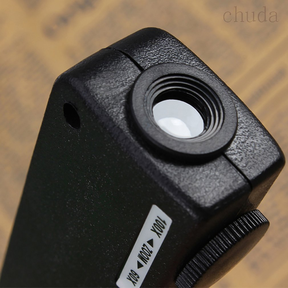 Mini 60x-100x iluminado Zoom bolsillo lupa microscopio ajuste Manual enfoque visión perfecta