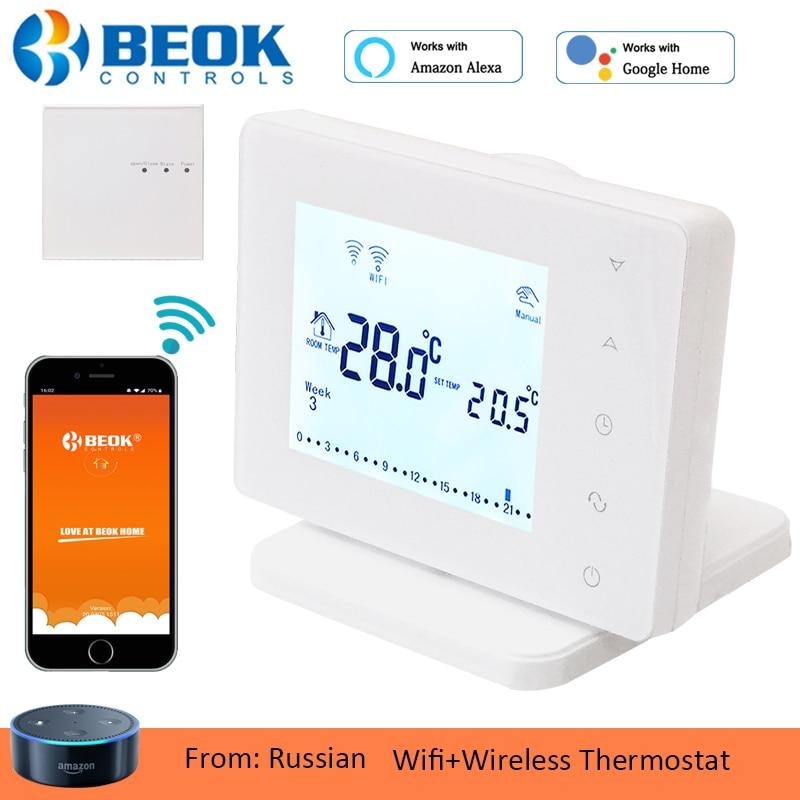Beok termostato sem fio wi fi inteligente controlador de temperatura para caldeira a gás e atuador quarto aquecimento trabalho com o google casa alexa