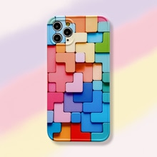 Building blocks case for Apple iphone 12 11 7 8 plus 11 Pro X XS XR MAX 12 Rainbow SE ins 3D Naked e