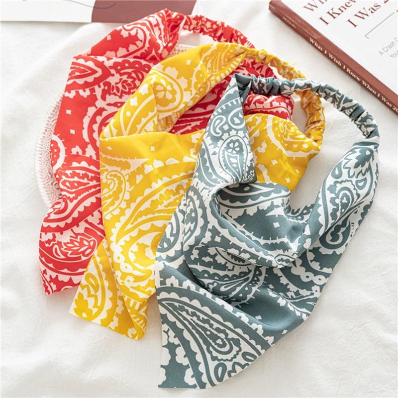 Elastic Triangle Head Scarf Turban Hair Band Soft Head Wrap Scrunchies Cashew Flowers Printing Headbands Female Hair Accessories