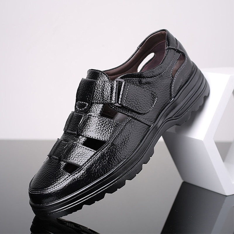 Classic Men Soft Sandals Comfortable Summer Shoes Leather Big Size 48 Roman Breathable Casual