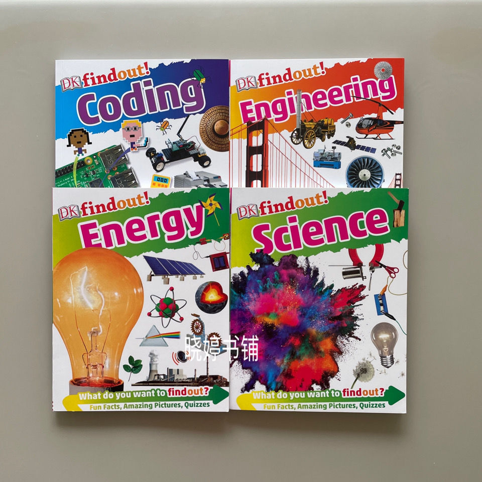 4 Books/set English Encyclopedia findout Science/Coding/Engineering/Energy science and technology aged 6 to 12 Baby English Book