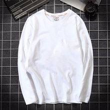 2019 automne hommes T-shirt 100% coton à manches longues mince T-shirt mâle couleur Pure haute qualité T-shirt décontracté chemise blanc grande taille 5XL