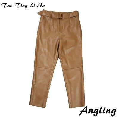 Tao Ting Li Na Women Spring Genuine Real Sheep Leather Pants E12