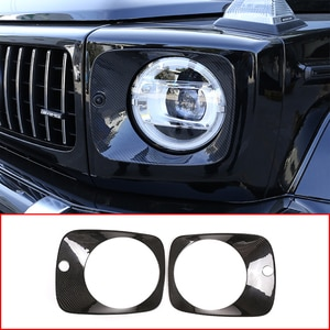 ST Real Carbon Fiber,Car Front Headlight Decoration Panel Frame,For Mercedes Benz G Class W463a G63 2019-2020 Exterior Accessory