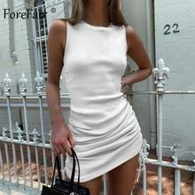 Forefair Rippen Mini Kleid Frauen Kordelzug Sexy Sleeveless O Neck Vintage Bodycon Party Club Gestrickte Sommer Kleid
