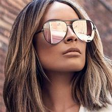 2019 Pink Pilot Sunglasses Women Quality Metal Mirror Sun Glasses Brand Flat Top Panel Shades Female