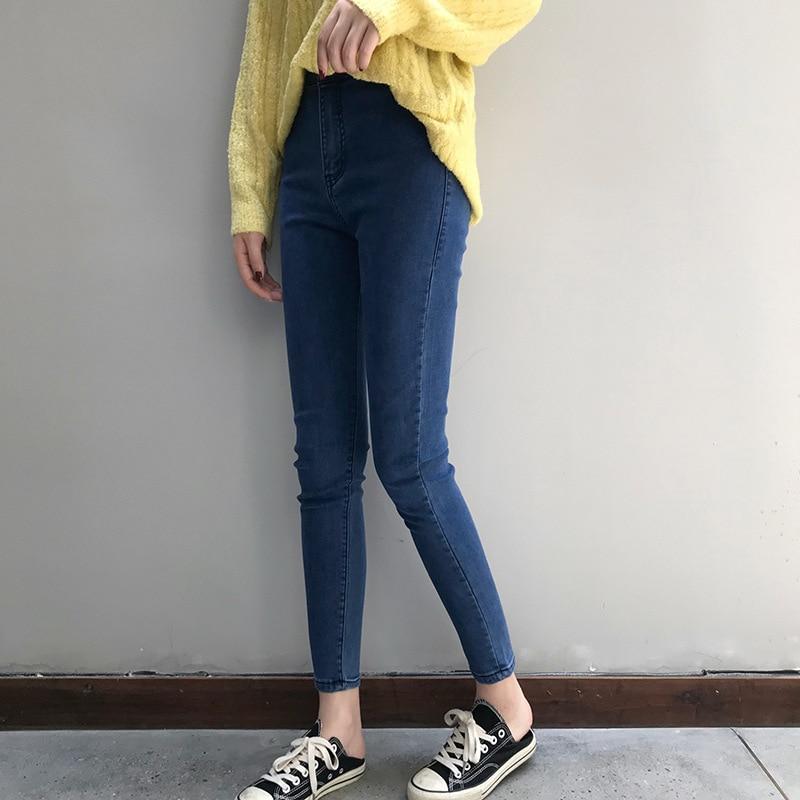 Mujer jeans cintura alta jeans Mujer moda Nova mujer sexy pantalones para mujer clubwear pantalones tobillo-longitud