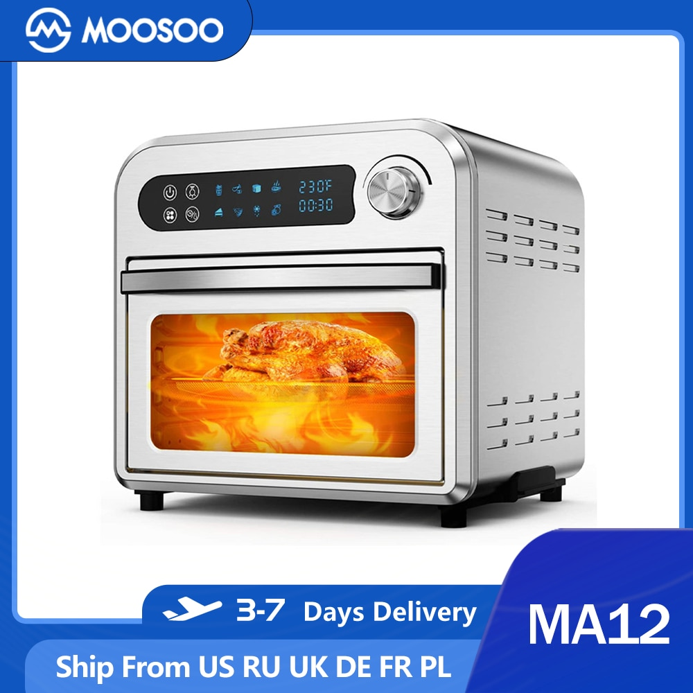 MOOSOO MA12 Air Fryer Oven 10.6 QT Fryer Toaster Oven Combo with Digital Screen 8 in 1 Convection Oven Mechanical Timer Control