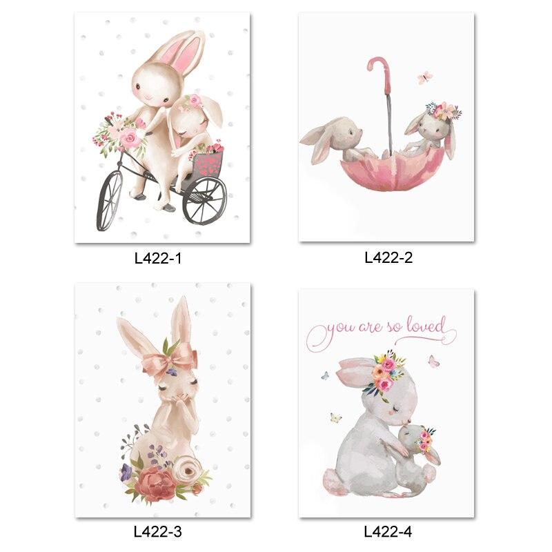 Adesivos de parede para quarto das crianças, decalque de parede fofo cinza, coelho, coelho, parede rosa, flor para quarto das meninas decoração de casa