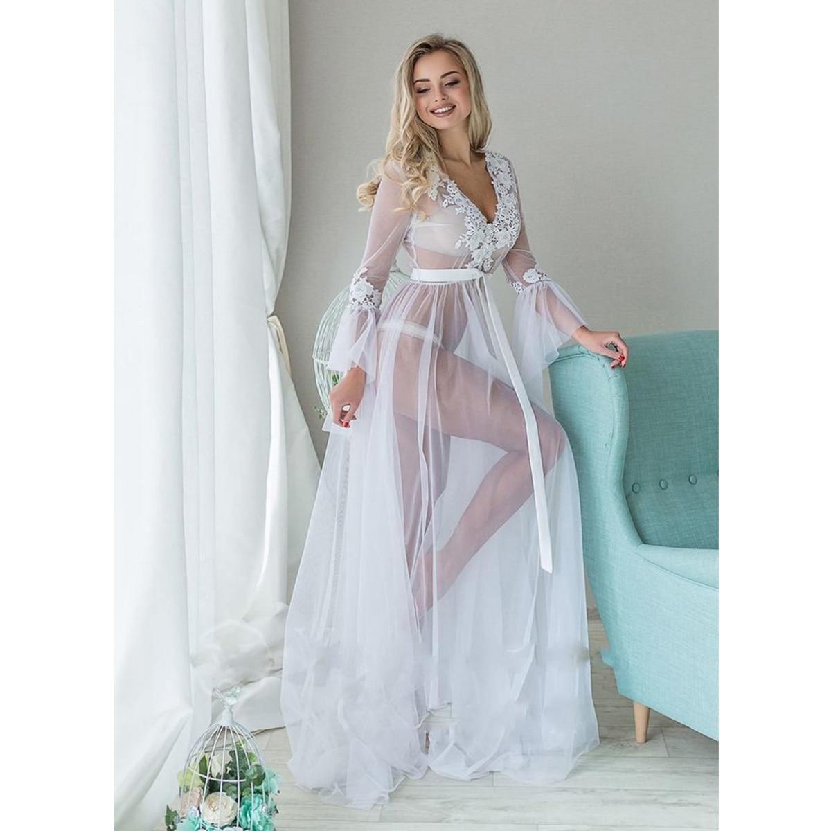 Women Deep V-neck Sexy Exotic Lingerie Dress Long Sleeve Lace Mesh Sheer Nightgown Full-Length Long