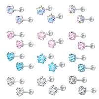 zs 2020 cz stud earings set for women 3 pairs stainless steel earrings set fashion style crystal earrings jewelry