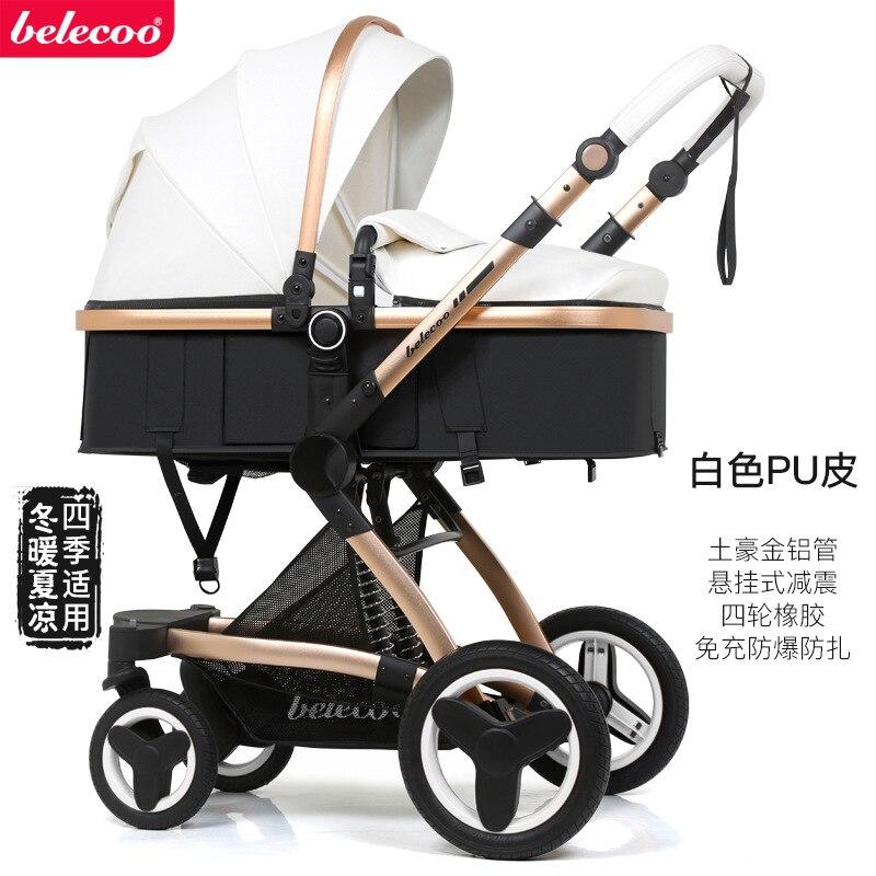 3 in 1  Baby Stroller With Car Seat Travel System Luxury Stroller Aluminum Alloy High Landscape Pram For Newborns Blue enlarge