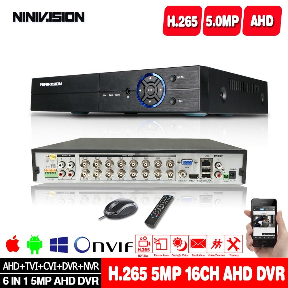 H.265 6in1 h.265 4ch 8ch 16ch dvr nvr cctv híbrido gravador de vídeo dvr p2p vista apoio ahd/tvi/cvi/cvbs/ip câmeras onvif nvr