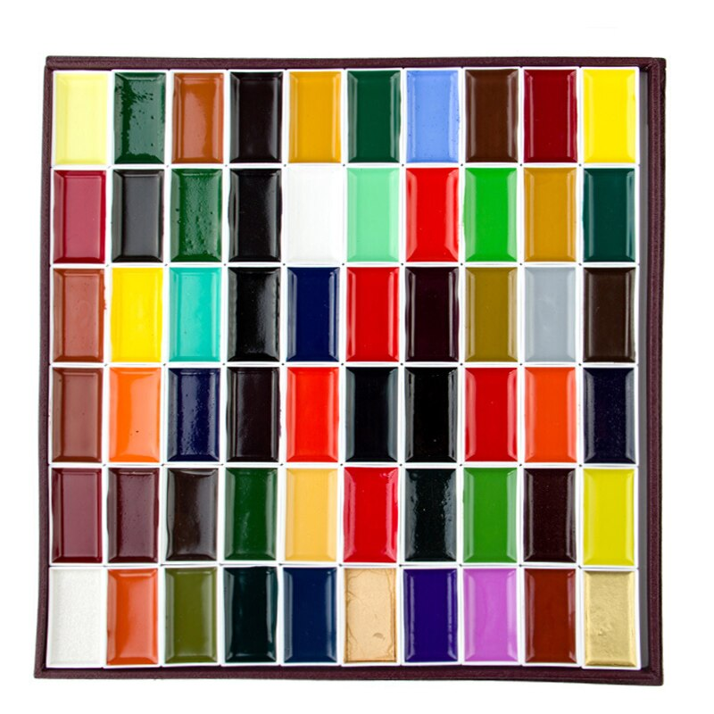 Watercolor Paint Art 8/12/18/24/35/48/60colors Acuarelas Pigment Artist Pearlescent Pigment Solid Water Color Paint Art Supplies