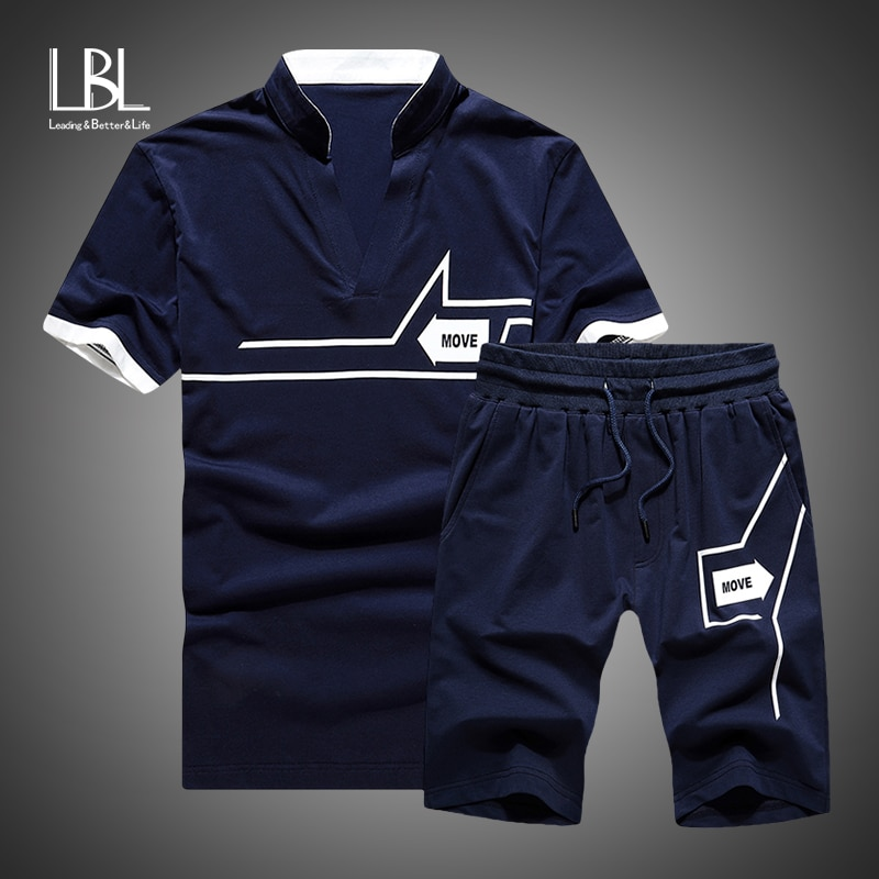 Tracksuits Men New 2020 Summer Two Piece Set Men Short Sleeve T Shirt Cropped Top+Shorts Suit Mens Sportwear Shorts Sets Outwear